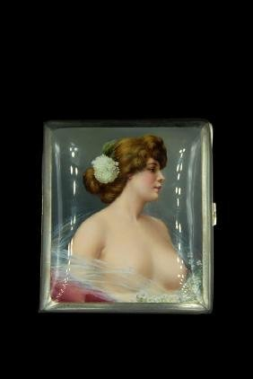 Enameled 935 Silver Swedish Cigarette Case With