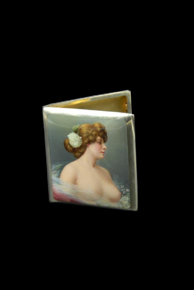 Enameled 935 Silver Swedish Cigarette Case With - 3