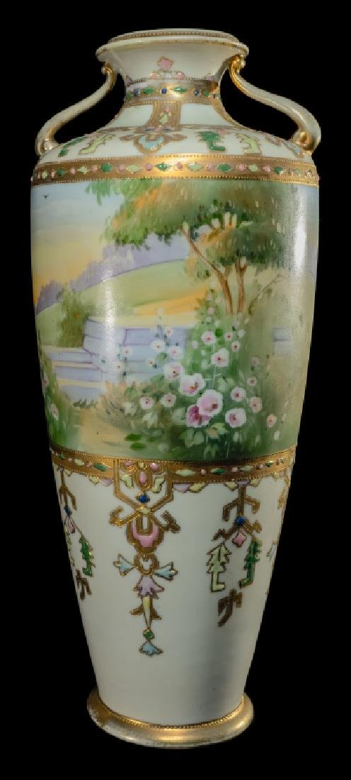 """Scenic Hand Painted Nippon Vase Gold Decorated 14"""""""
