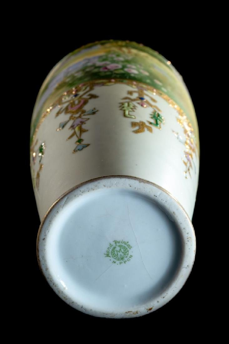 """Scenic Hand Painted Nippon Vase Gold Decorated 14"""" - 3"""