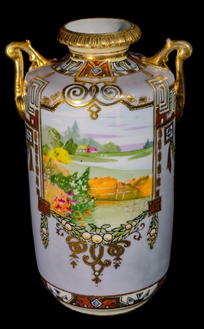 """Hand Painted Nippon Farm Scene Vase 10"""""""