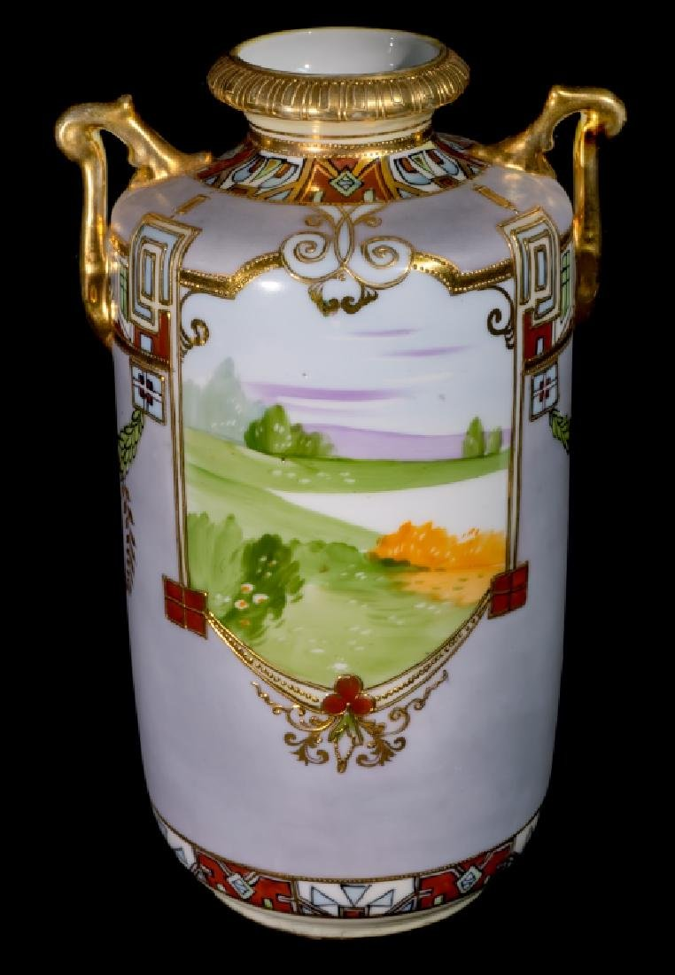 """Hand Painted Nippon Farm Scene Vase 10"""" - 2"""