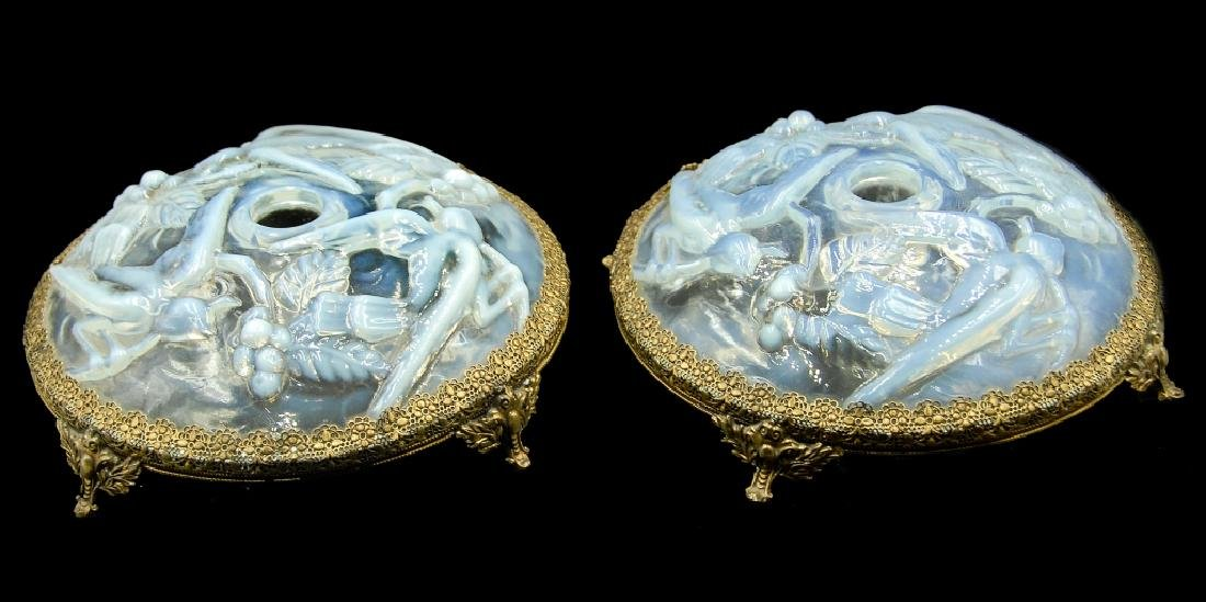 French Sabino Opalescent Art Glass Candlesticks
