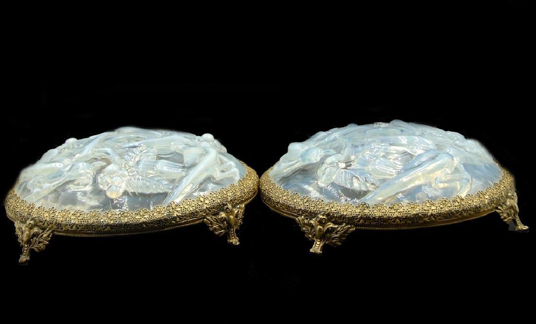 French Sabino Opalescent Art Glass Candlesticks - 2