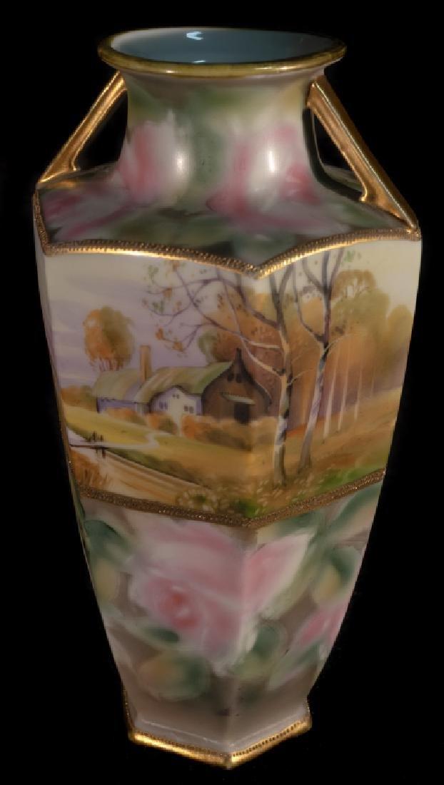 Hand Painted Nippon Farm Scene Vase