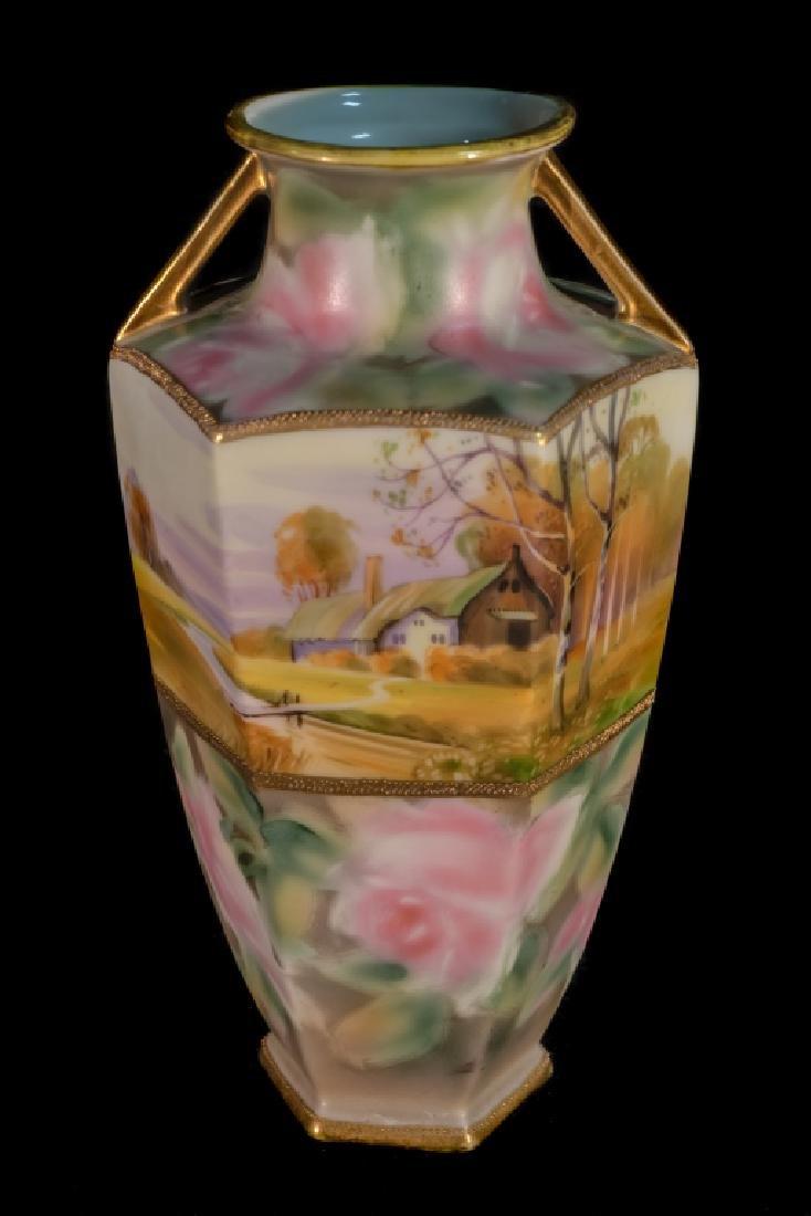 Hand Painted Nippon Farm Scene Vase - 2
