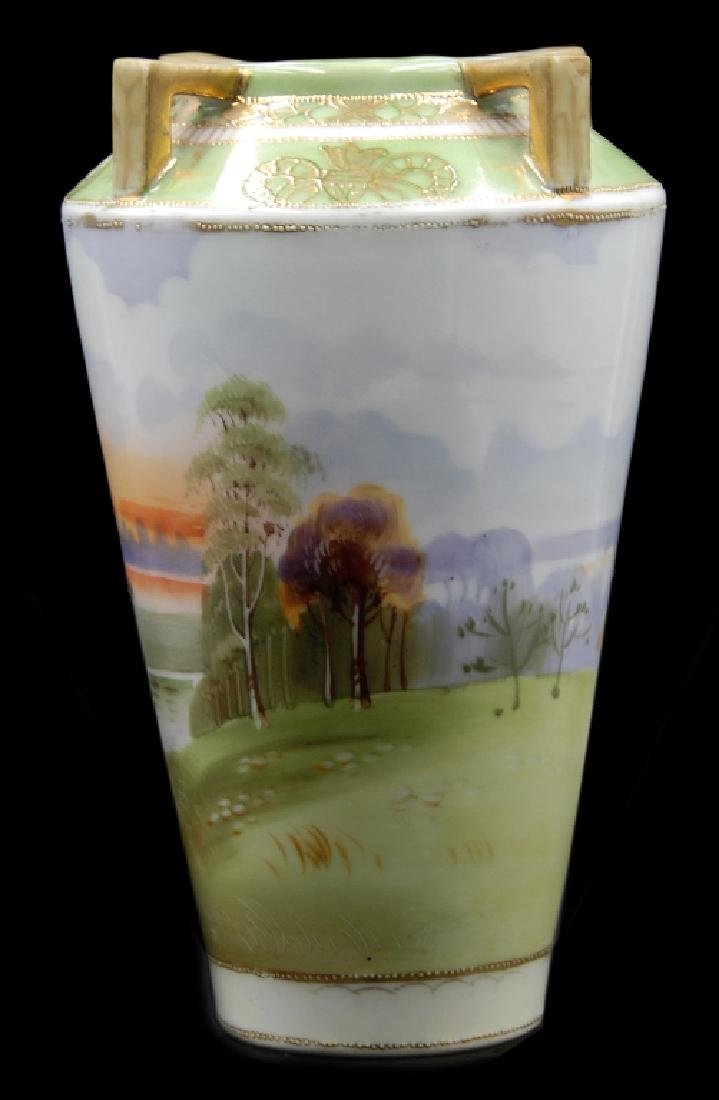 Hand Painted Nippon Scenic Vase - 2