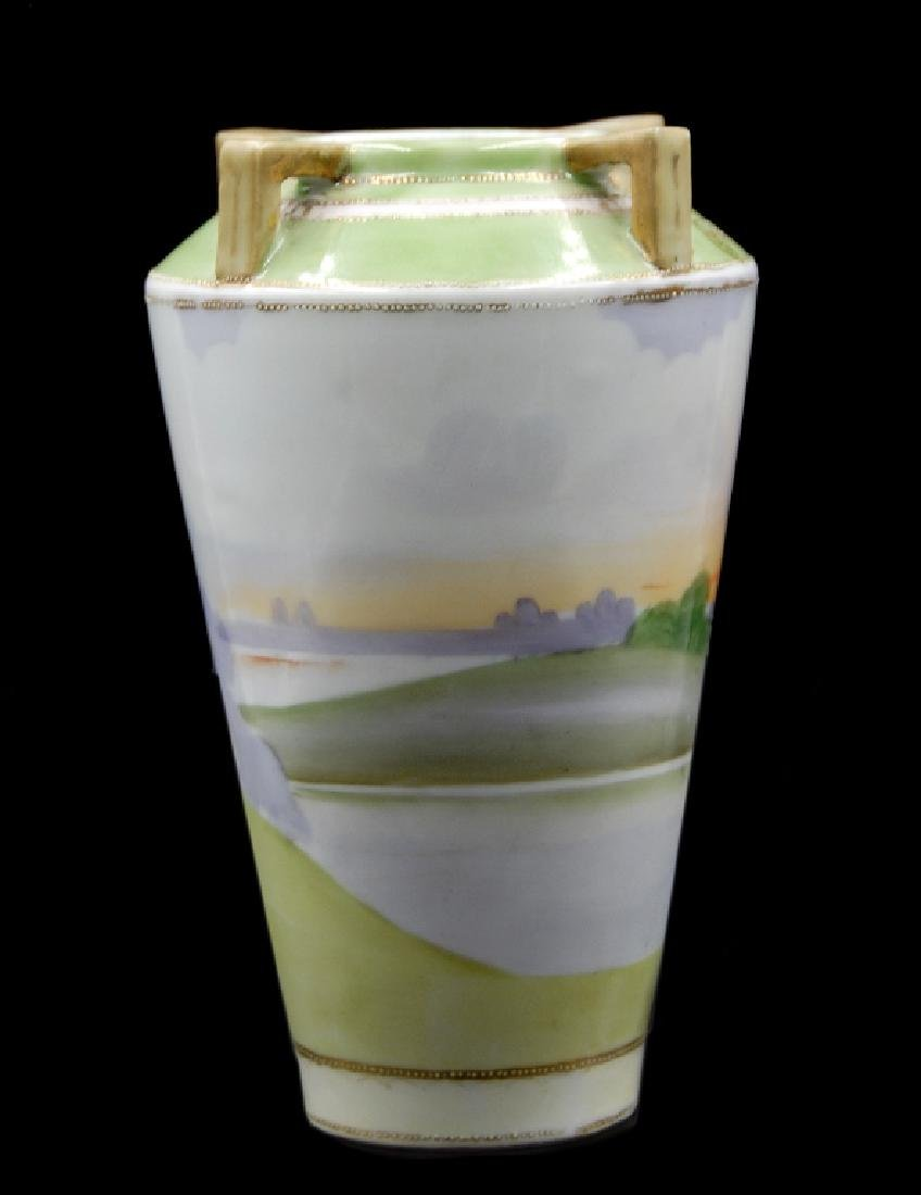 Hand Painted Nippon Scenic Vase - 4