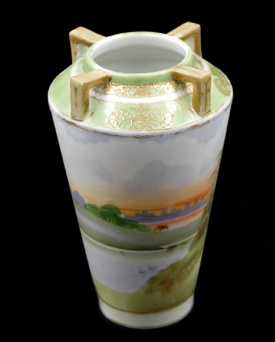 Hand Painted Nippon Scenic Vase - 5