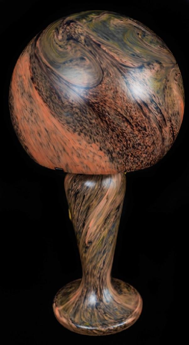 French Art Nouveau Mottled Art Glass Lamp - 3