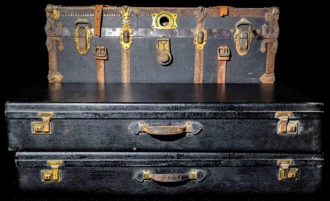 Vintage Trunk And 2 Alligator Luggage