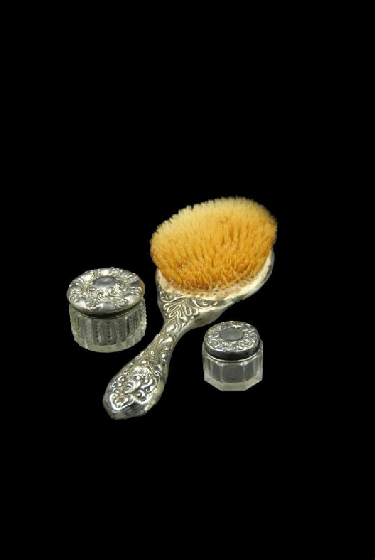 Art Nouveau Sterling Brush And 2 Jars