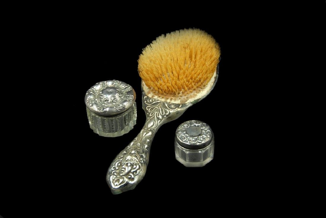 Art Nouveau Sterling Brush And 2 Jars - 2