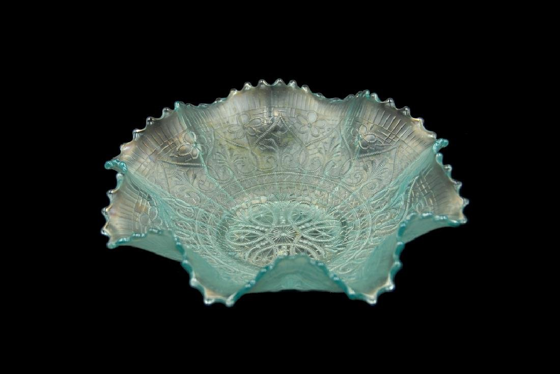 Ice Blue Carnival Glass Bowl