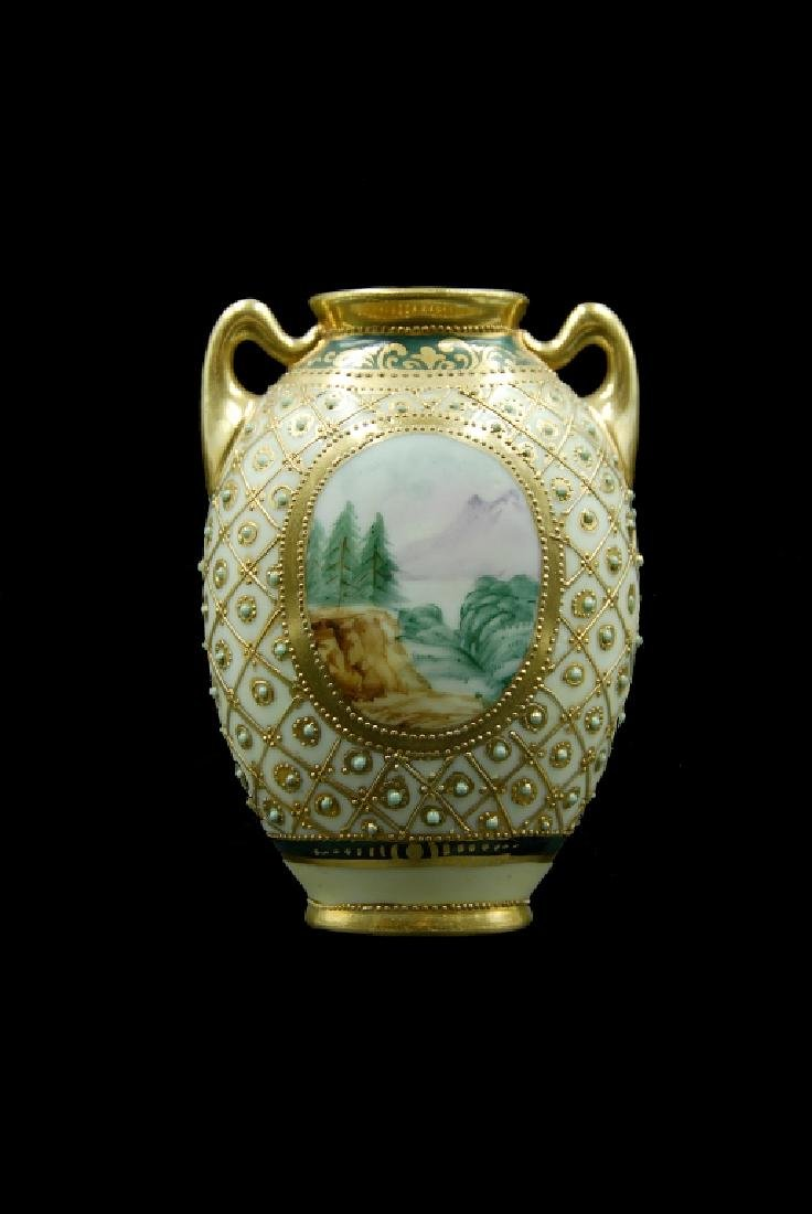 Hand Painted Nippon Vase - 3