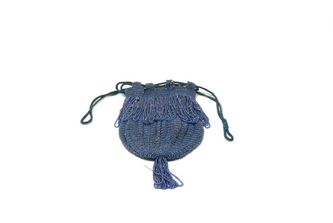 Antique Blue Beaded Drawstring Purse