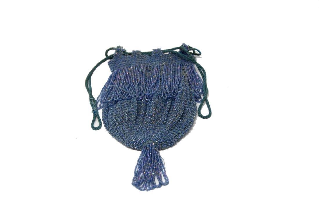 Antique Blue Beaded Drawstring Purse - 2