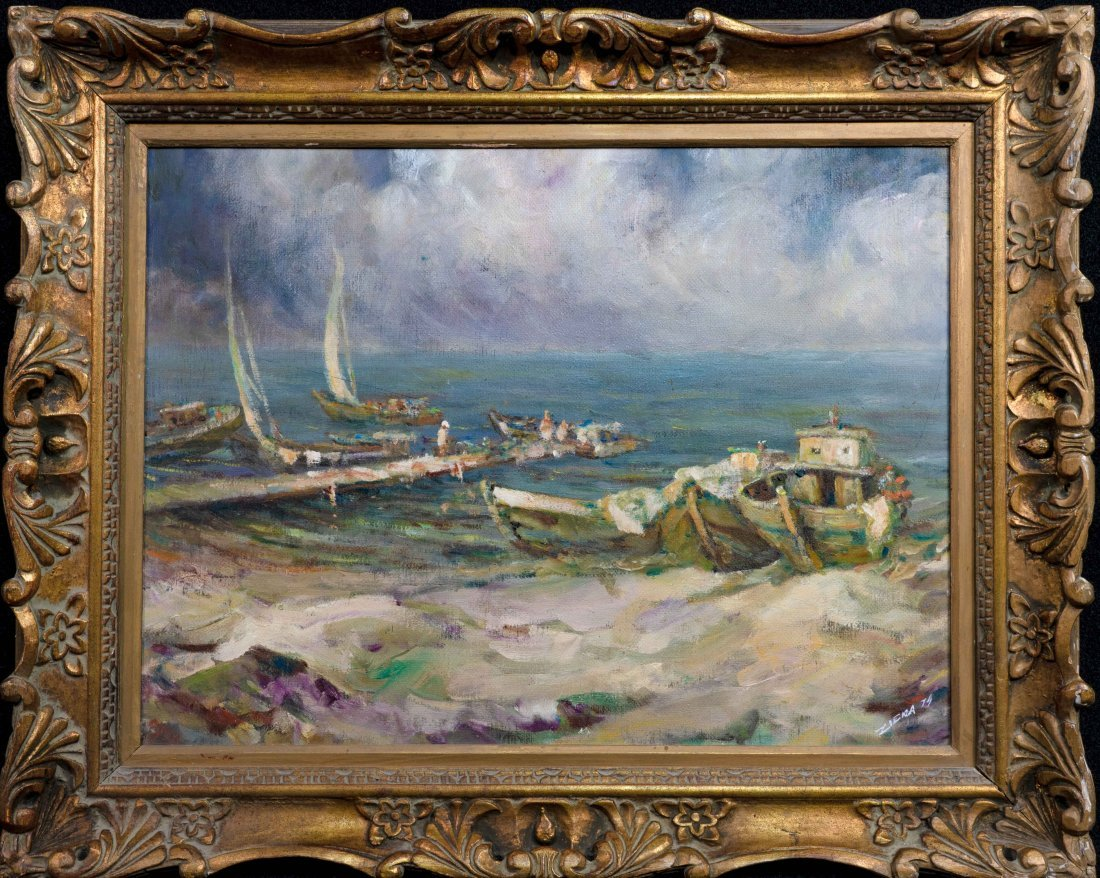 Harbor Seascape Oil Painting Signed Ziena