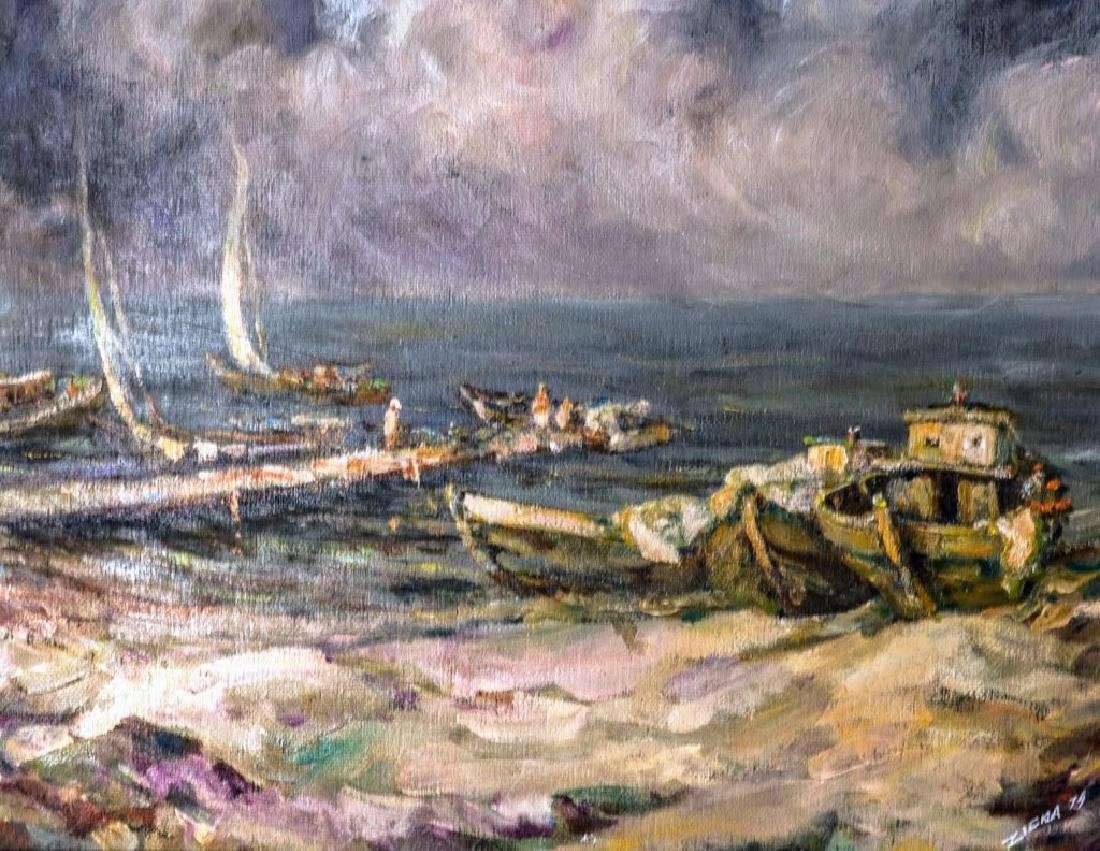 Harbor Seascape Oil Painting Signed Ziena - 2