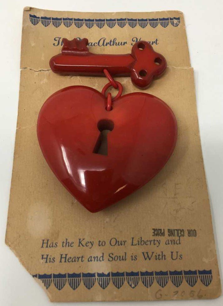 Large Red Bakelite Macarthur Heart Pin W/ Original Card