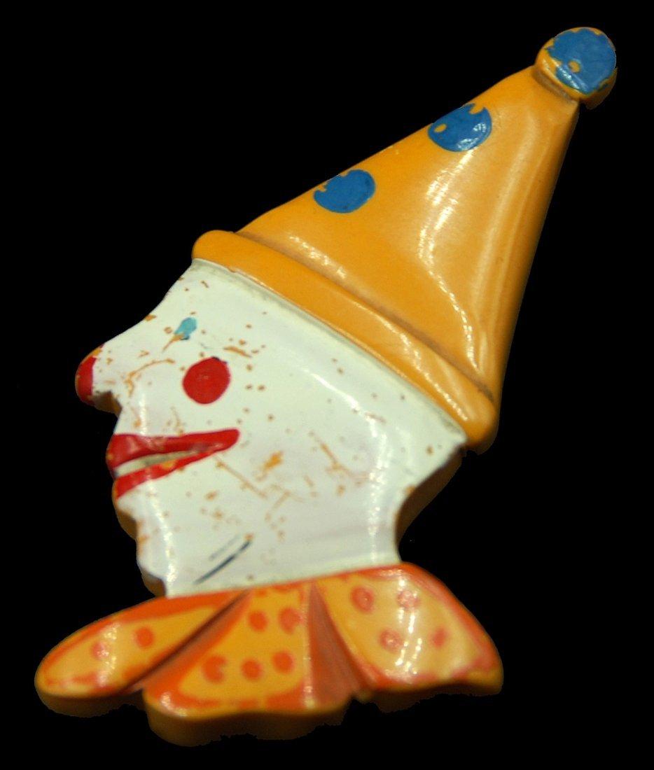 Bakelite Painted Figural Clown Pin