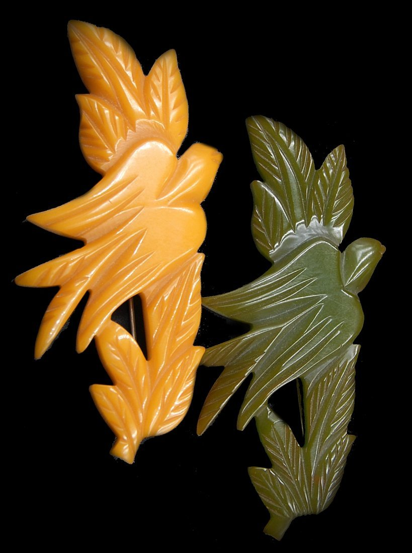 Pair Bakelite Butterscotch And Green Carved Dove Leaf - 2