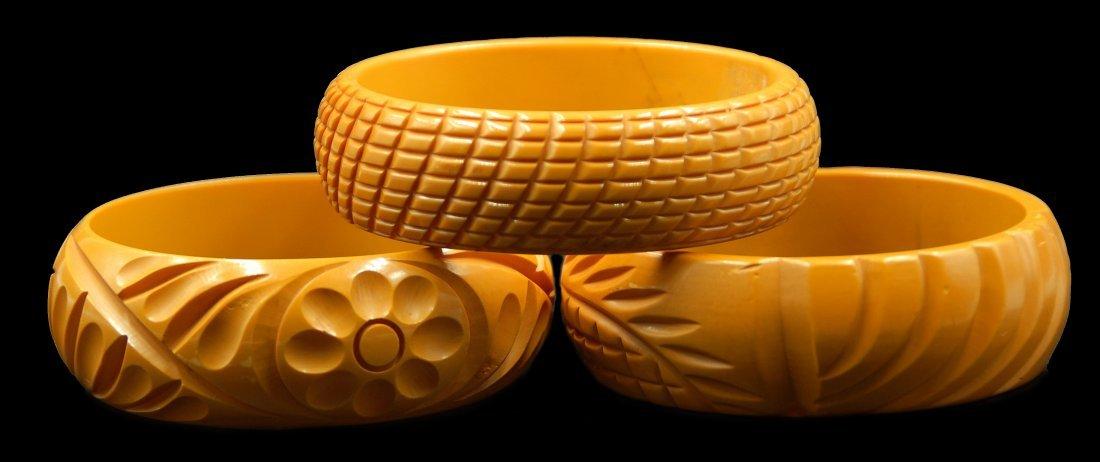 3 Pc Bakelite Carved Stackable Bracelets