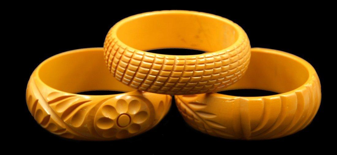 3 Pc Bakelite Carved Stackable Bracelets - 2