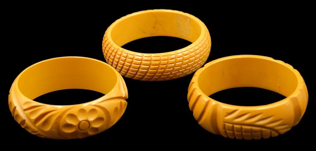 3 Pc Bakelite Carved Stackable Bracelets - 3