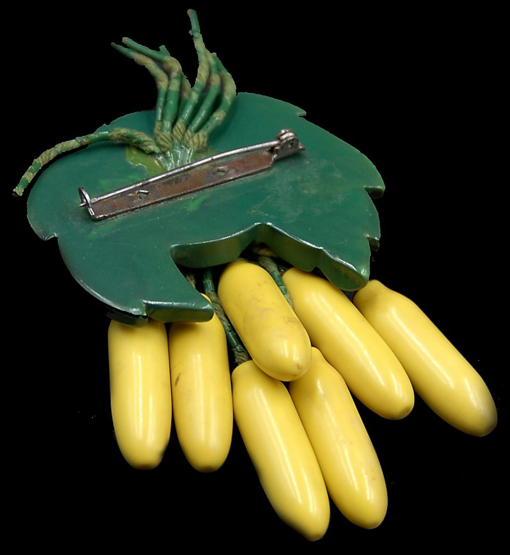 Bakelite Painted Hanging Banana Tree Pin - 2