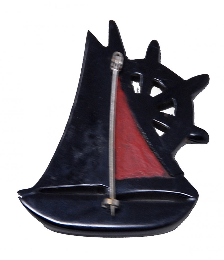 Bakelite Carved Black And Red Painted Sail Boat Pin - 2