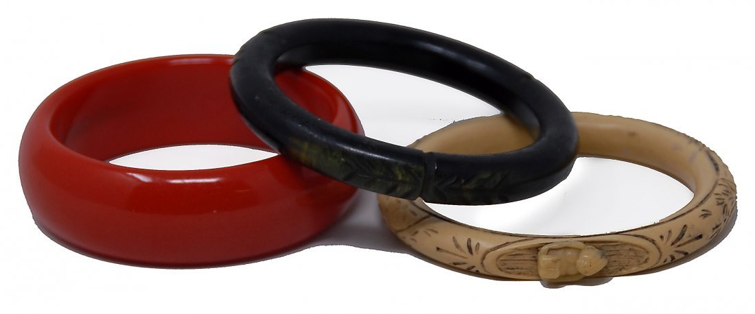 3 Bakekite Bracelets Cherry Red, Carved Black, Carved