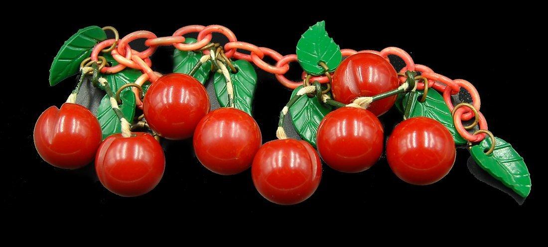 Cherry Bracelet W/ Leaves