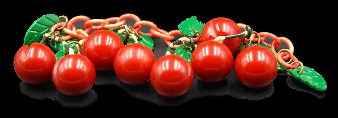 Cherry Bracelet W/ Leaves - 2