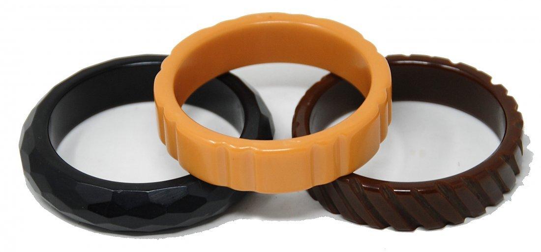 3 Baklite Bracelets Cut Design Brown, Black, Caramel