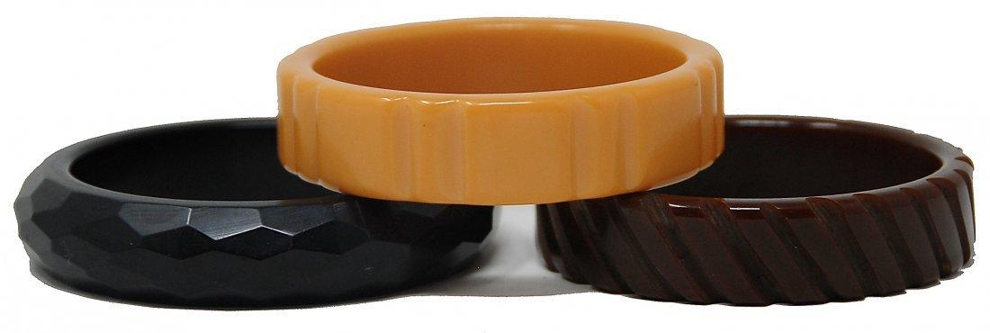 3 Baklite Bracelets Cut Design Brown, Black, Caramel - 2