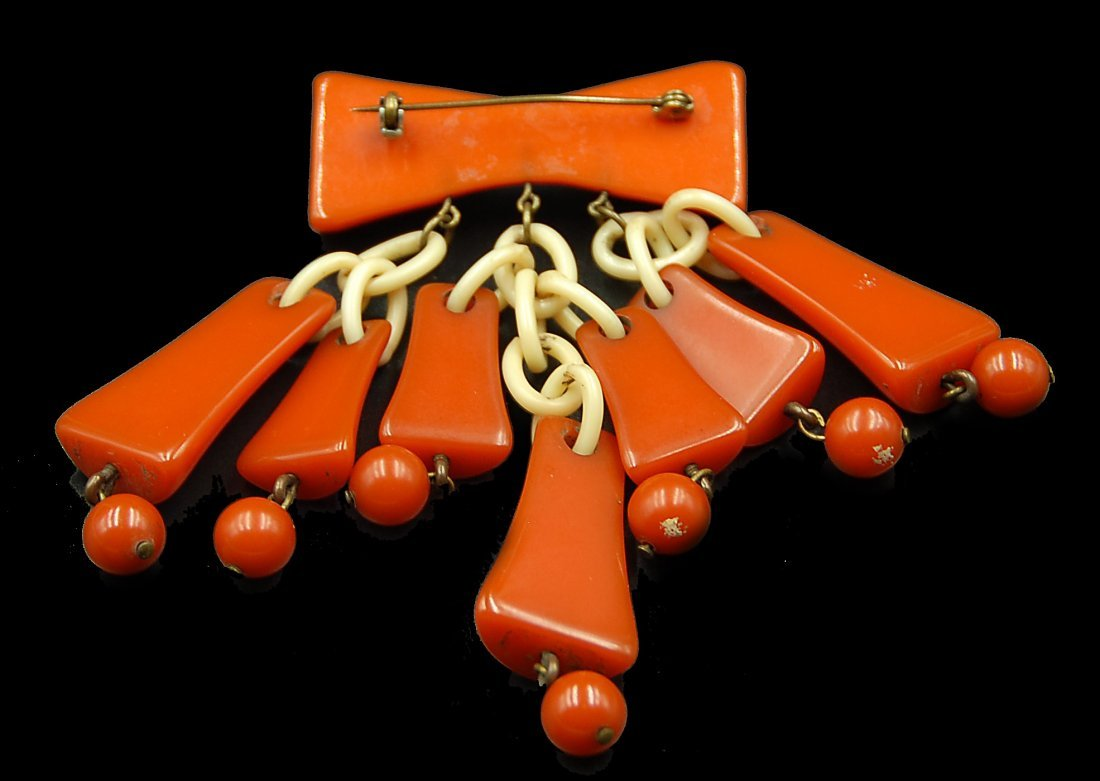 Large Bakelite Pin W/ 7 Bells Hanging On Chains - 2