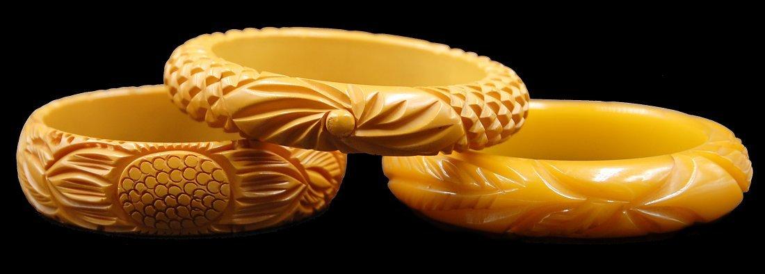 3 Carved Butterscotch Bakelite Bracelets - 2