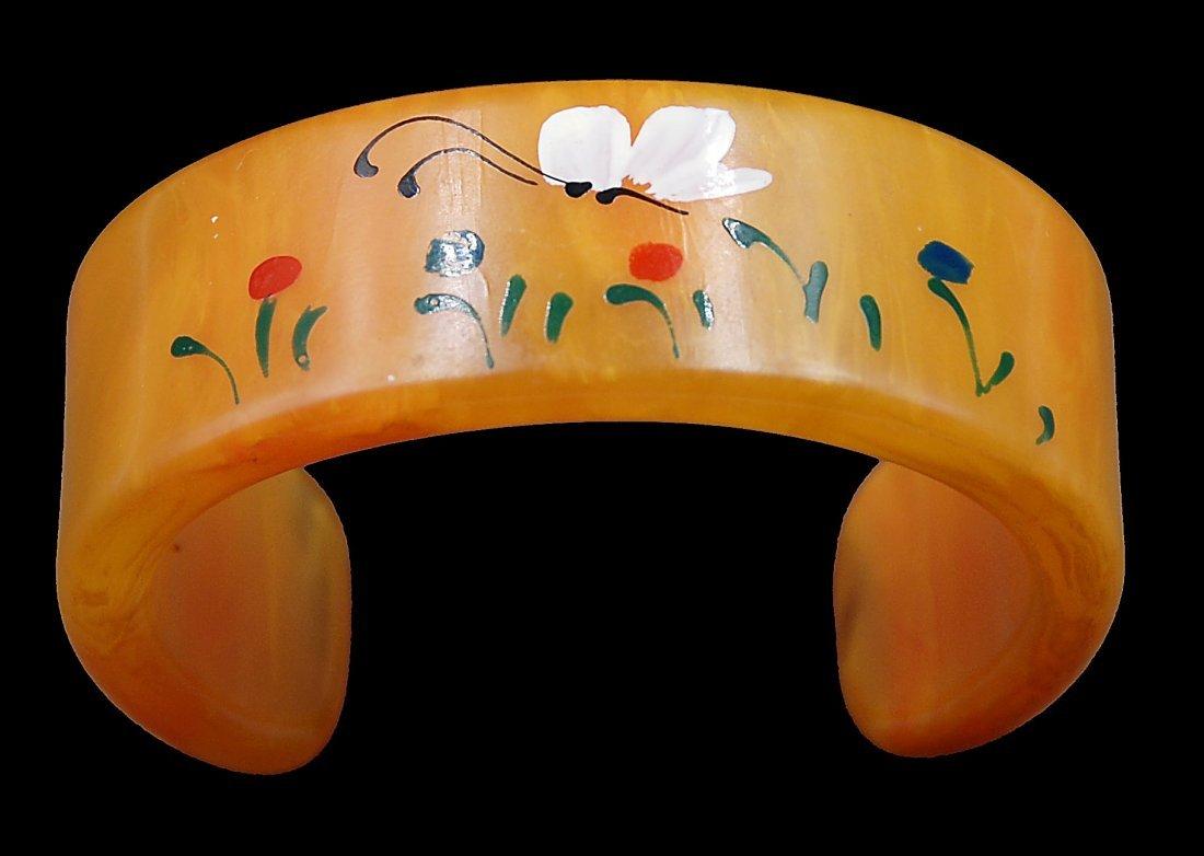 Bakelite Painted Cuff Bracelet