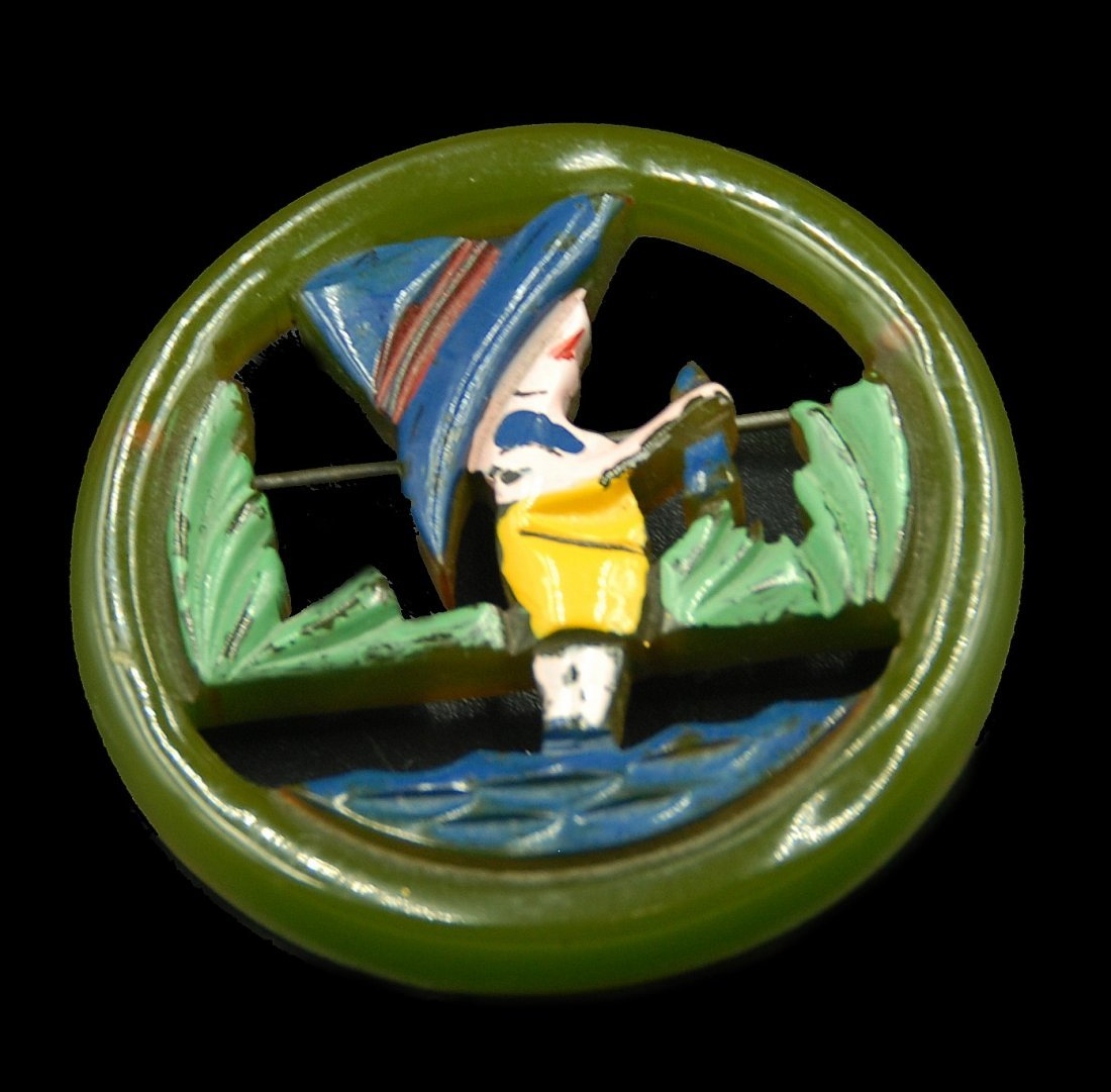 Bakelite Dutch Boy Fishing With Fish In Hand