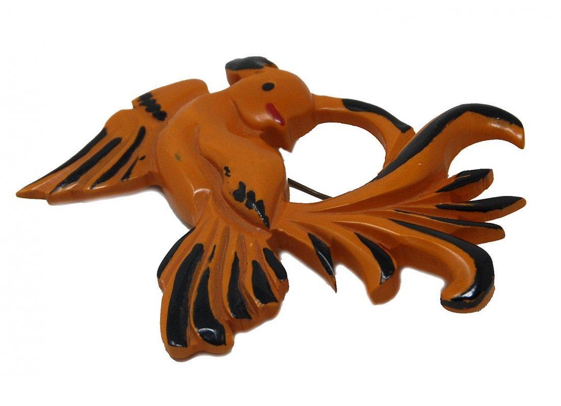 Carved Bakelite Bird Pin