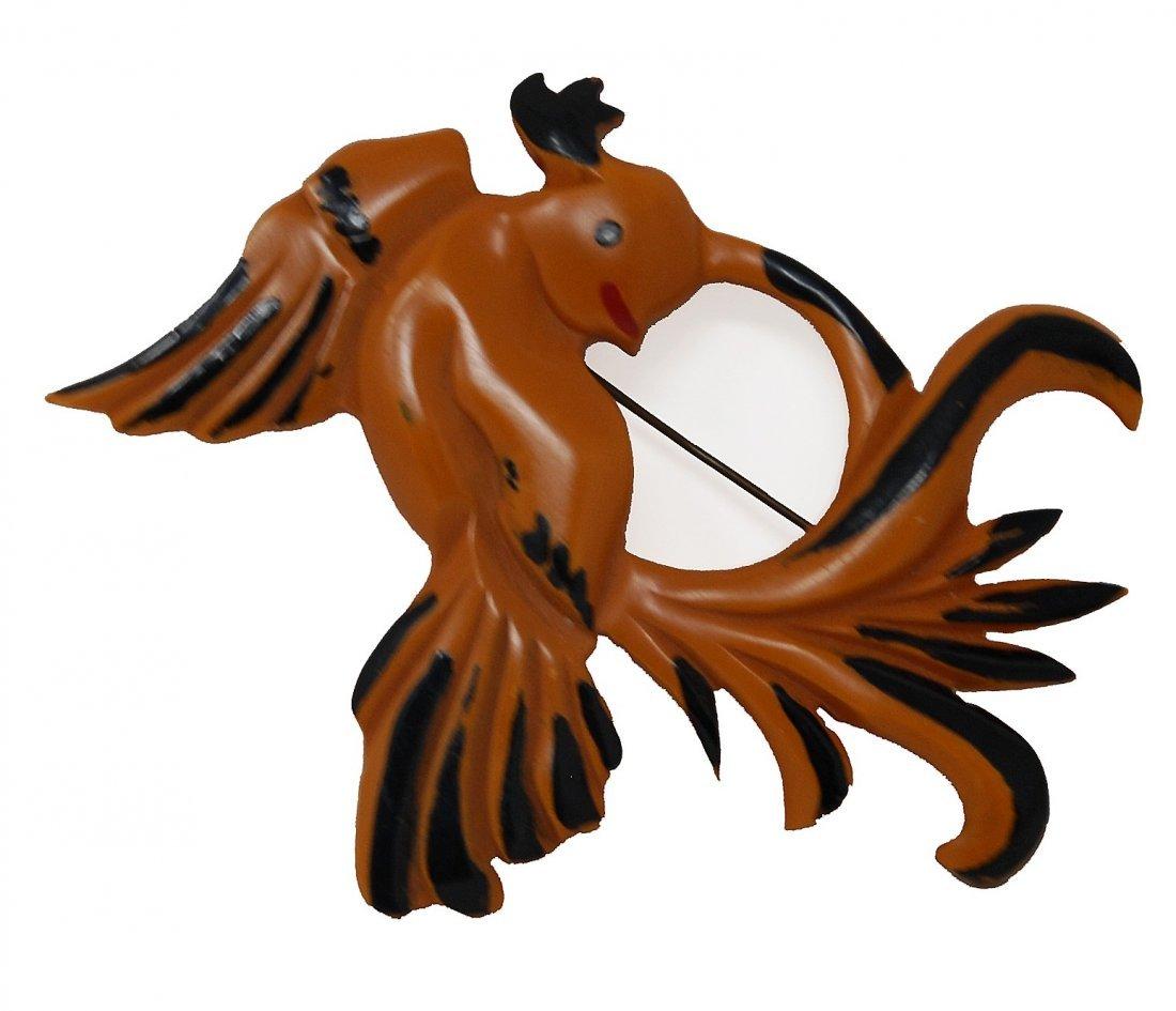 Carved Bakelite Bird Pin - 2