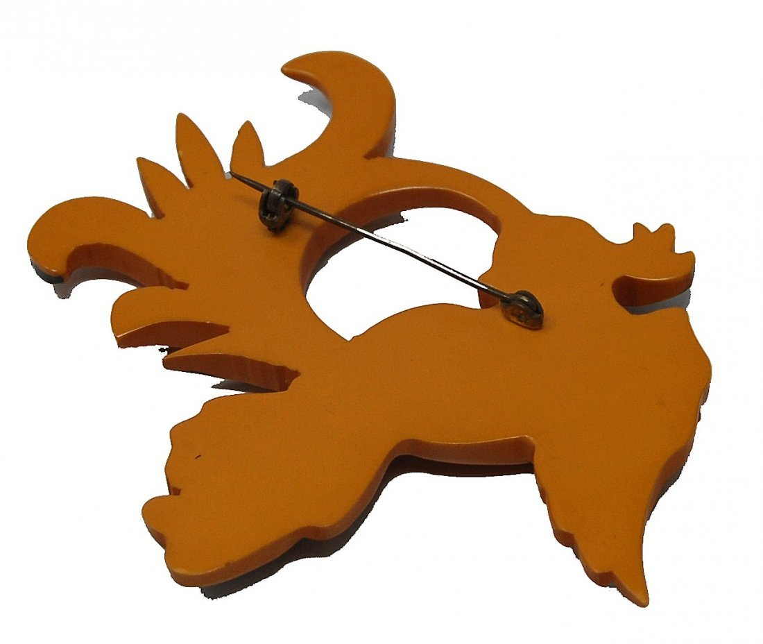 Carved Bakelite Bird Pin - 3
