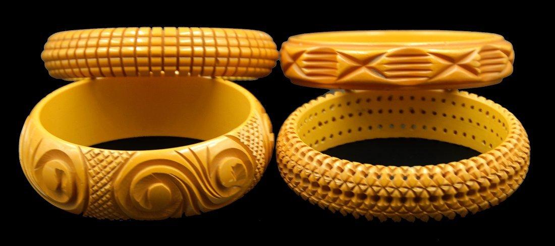4 Heavily Carved Caramel Bakelite Bracelets