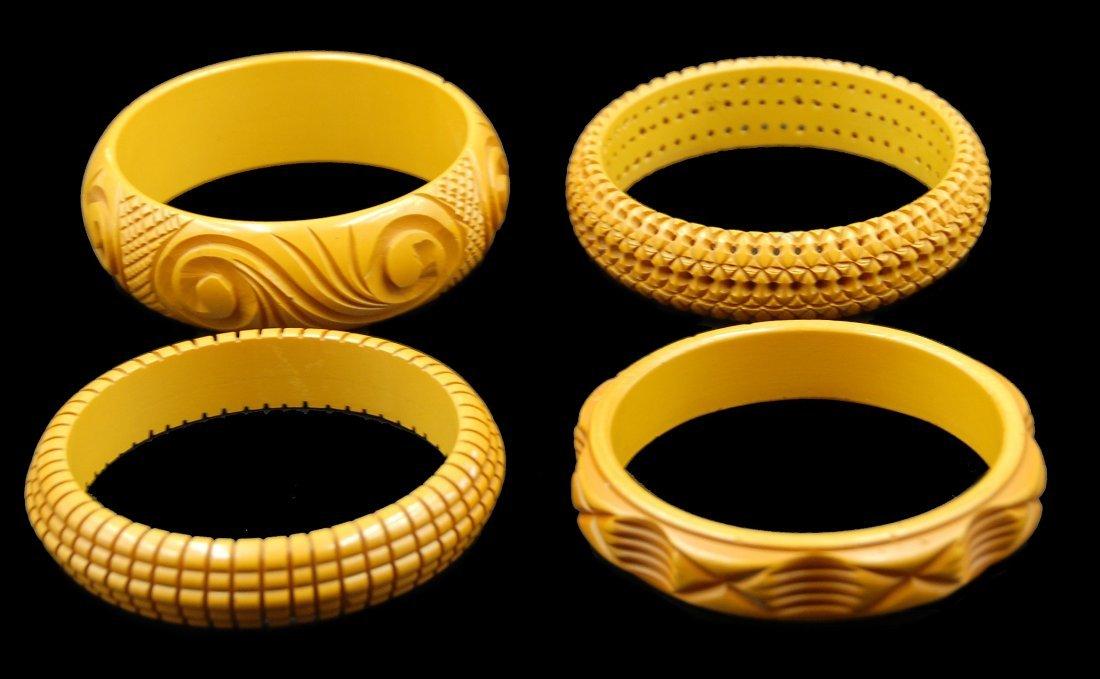 4 Heavily Carved Caramel Bakelite Bracelets - 2
