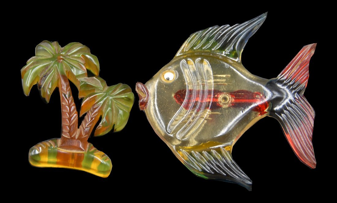 2 Lucite Bakelite Pins Fish And Palm Tree