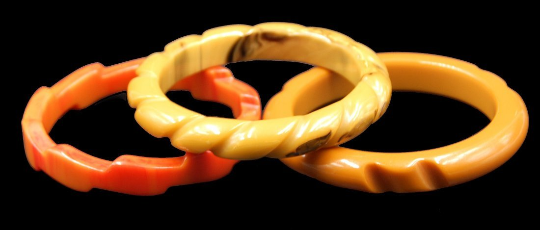 3 Bakelite Bracelets Faceted 2 Caramel And Sunburst