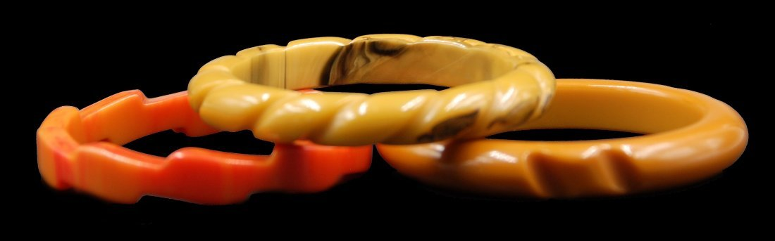 3 Bakelite Bracelets Faceted 2 Caramel And Sunburst - 2