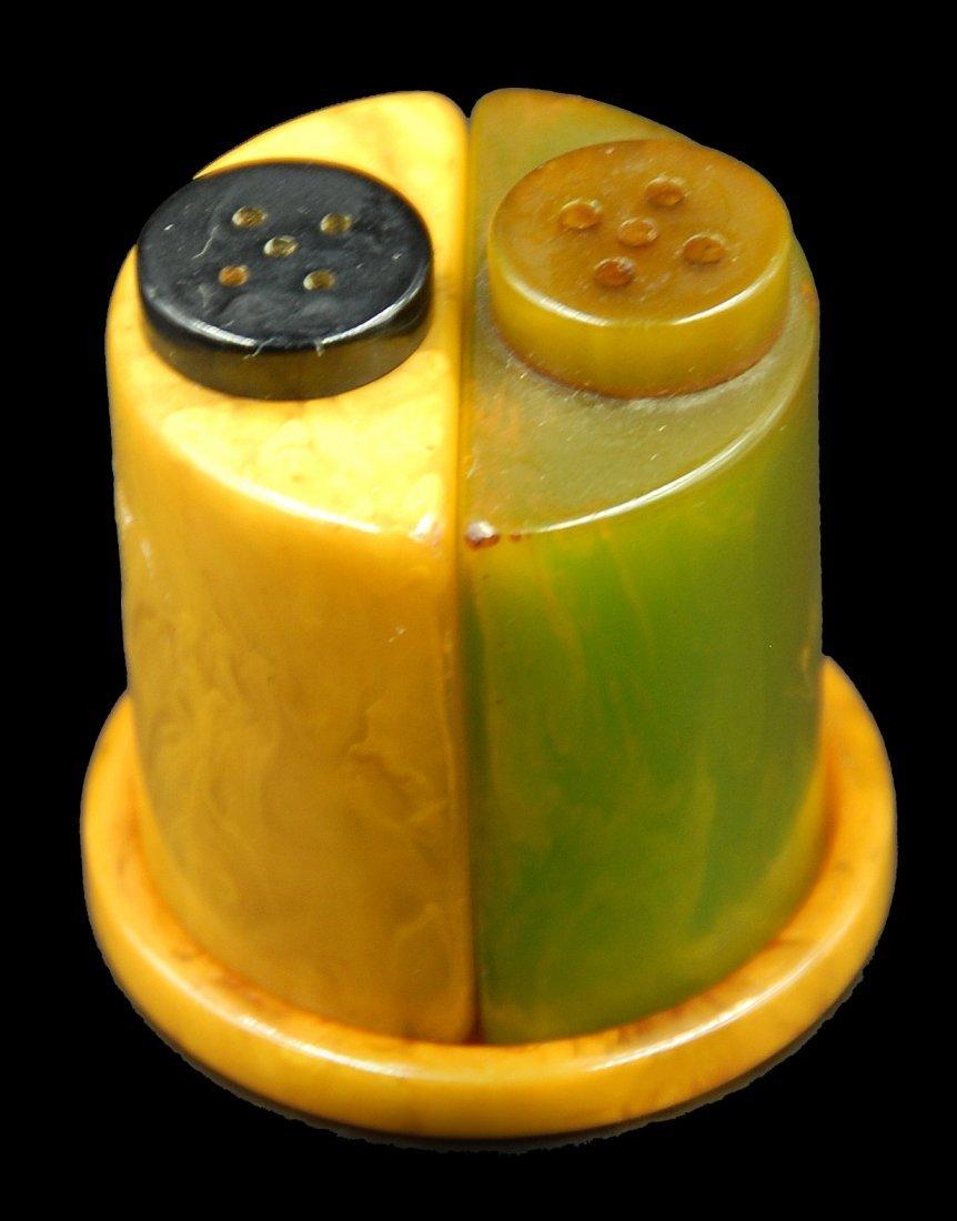 Bakelite Salt And Pepper Shakers In Holder - 2