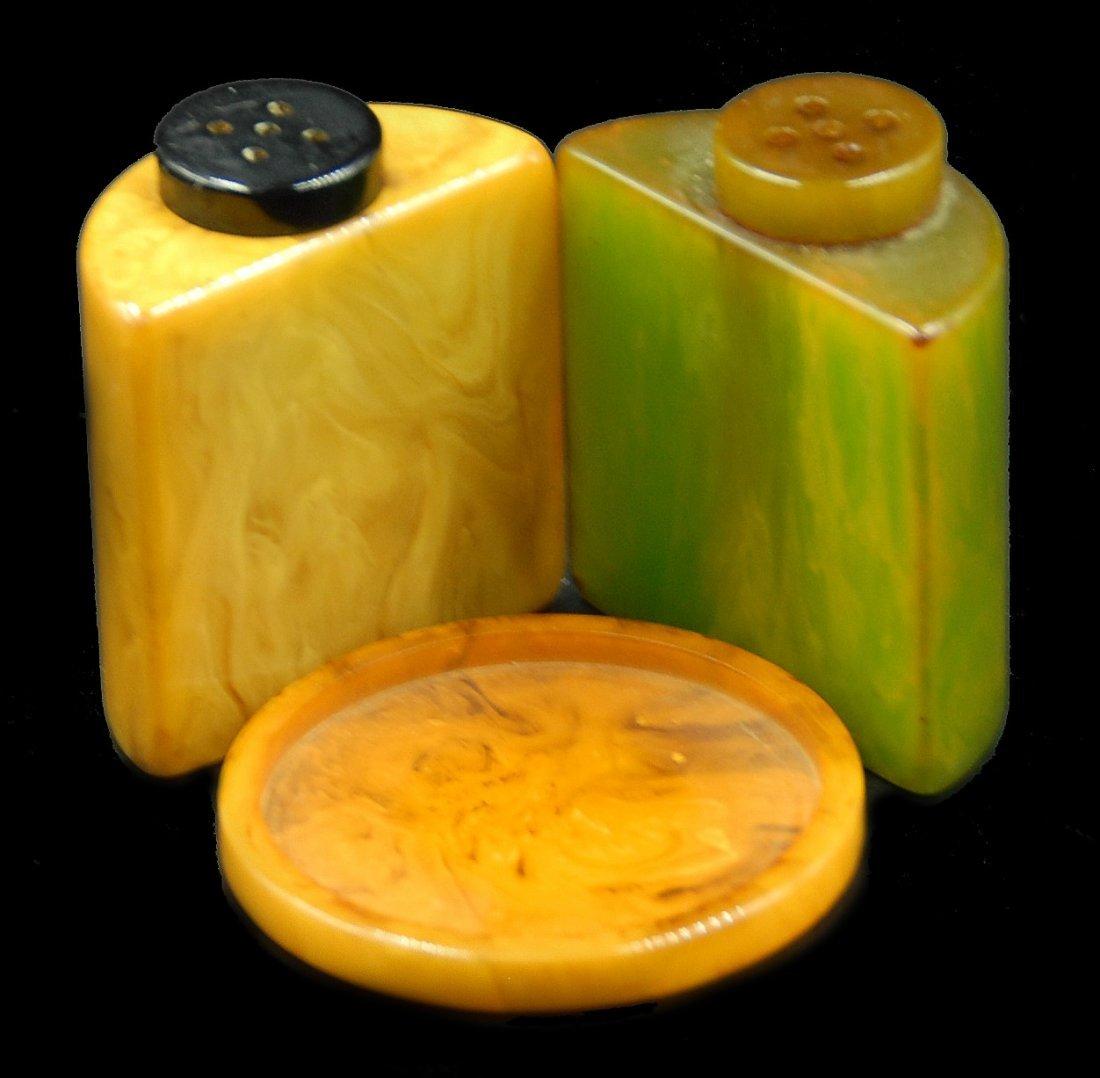 Bakelite Salt And Pepper Shakers In Holder - 3